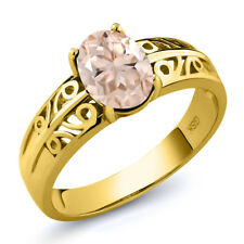 1.00 Ct Oval Peach Morganite 18K Yellow Gold Plated Silver Ring