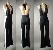 Tuxedo Plunge Neck Halter Backless Flare Bell Bottoms Dress Pant 234 mv Jumpsuit
