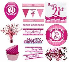 PERFECTLY PINK Girl Age 21 Happy 21st Birthday PARTY ITEMS Decorations Tableware