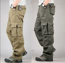 Mens Casual Overalls Loose Straight Cargo Pants Military Outdoor Trousers Sz 9