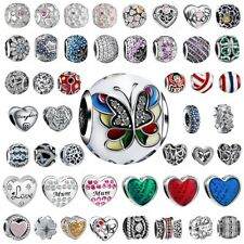 European 925 Silver Charms Heart Zirconia Bead Fit Sterling Bracelets Necklace