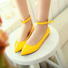 Womens Comfort Casual Ankle Strap Pointed Toe Ballet Flats Slip On Loafer Shoes