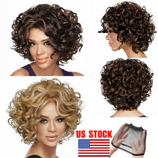 US Blond / Brown Short Curly / Wavy Hairstyle Heat Resistant Synthetic Hair Wigs