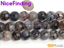 """Faceted Black Agate Onyx Crackle Round Loose Stone Beads For Jewelry Making 15"""""""