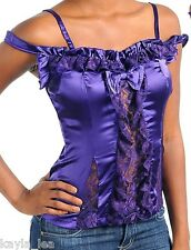 Purple Satin Ruffle/Lace Inset Front Off Shoulder Cami Top S