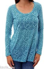 Blue Zebra 2-Tone Burnout Sheer/Semi Long Sleeve Tee Top