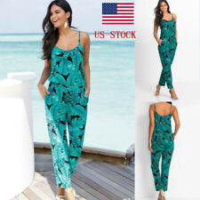 US Women Lady Sling Leaf Playsuits Long Trousers Rompers Jumpsuits Summer Beach