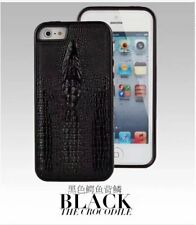 PU LEATHER CROCODILE SKIN STYLE COVER CASE for iPHONE 5 6 7 PLUS BLACK
