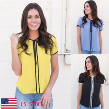 US Ship Women Lady Short Sleeve Simple Lace up Casual Tops Blouse T-Shirts Tees