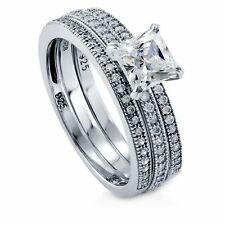 Sterling Silver Princess Cubic Zirconia CZ Solitaire Engagement Wedding Sta 243