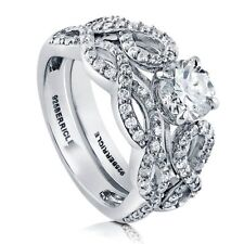Sterling Silver Round Cubic Zirconia CZ Solitaire Woven Engagement Wedding Rin