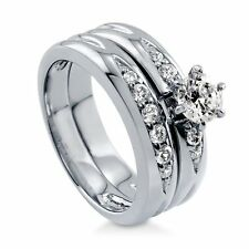 Sterling Silver 0.9 ct.tw Round Cubic Zirconia CZ Solitaire Engagement Wedding
