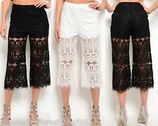 Black or White Lace Wide Leg Cropped Capri Gaucho Pants Palazzo Shorts Lined