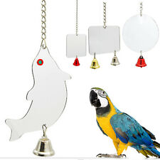 Cockatiel Budgie Canary Parrot Bird Mirror with Bell Cage Toys Birds Budgie Toy