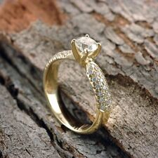 14/18K Yellow Gold 0.27-1.06 CT D VS1 Round Diamond Engagement Ring Enhanced