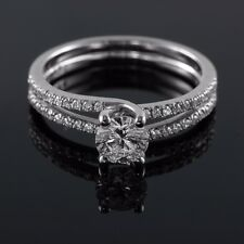 Fine 14/18K White Gold 0.57-0.93CT E VS1 Round Diamond Engagement Ring Enhanced
