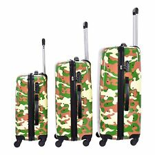 3 piece Camo Rolling Carry-On Hard Case Traveling Suitcase Luggage Bag Locking