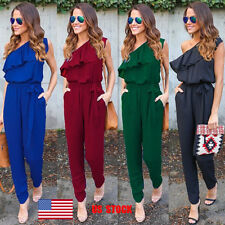 US Womens Sleeveless Ruffle One Shoulder Tie Long Pants Jumpsuit Romper Playsuit