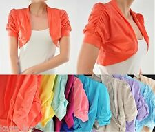 Ruched Short Sleeve Cropped Bolero/Shrug Top S/M/L *9 Colors Available*