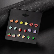 9Pairs/set Women Girl Fashion Lovely Animal Owl Fruit Stud Earrings Jewelry Gift