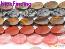 13x18mm Natural Oval Gemstone Beads For Jewelry Making Twist Beads Strand 15""
