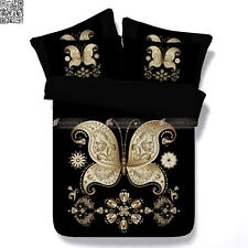 New 3pc Queen/King/Super King Bed Quilt Doona Cover Set Black Gold Butterfly 3D