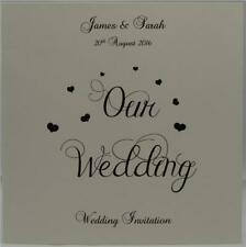Personalised Invites Ivory Our Wedding Day Sidefold Invitation Silhouette Design