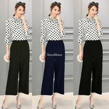 Women Pull On Pleated Wide Leg Solid Casual Loose Capri Pants Trousers SH