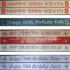 Personalised 50th Birthday Polyester Ribbon Party Banner 1 Metre Long