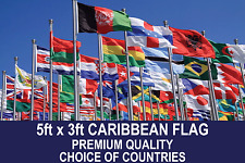 CARIBBEAN COUNTRY FLAG 5FTx3FT PREMIUM QUALITY POLYESTER FLAGS CHOSE YOUR DESIGN