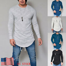 Men Male Slim Fit Plain Casual Round Neck Long Sleeve Comfy T-Shirts Tops Tees