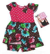 Young Hearts Baby Girls Pink Polka Dot Brown Floral Dress and Bloomers Set