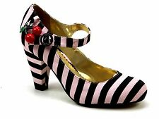 IRREGULAR CHOICE POETIC LICENCE THE RIGHT STRIPE PINK BLACK HEELS SHOES SIZE 6.5