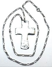 Pewter Large Hammered Cross Pendant on a Silver Tone Figaro Chain Necklace -0030