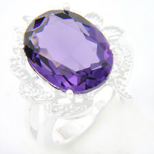 Engagement Jewelry Oval Cut Purple Amethyst Gems Silver Woman Ring Size 7 8 9