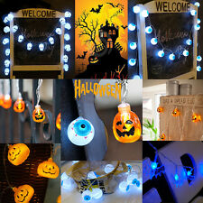 Pumpkin Eyeball Skull Bat LED Battery String Light Lamp Halloween Party Decor