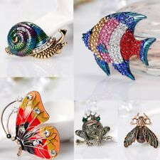 Fish Butterfly Cartoon Crystal Costumes Brooches Pins Jewellery Womens Wedding