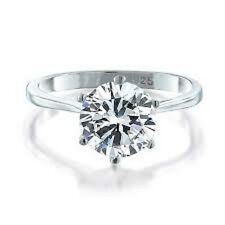 925 Sterling Silver Round CZ Solitaire Engagement Ring