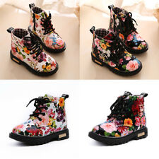 Girls Floral Kids Boy Lace Up Martin Casual Snow Boots Children Ankle Shoes Size