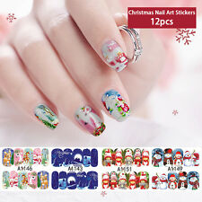 12pcs 3D Water Transfer Christmas Nail Art Wraps Stickers Decals Stickers Tips