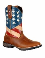 """Rocky Western Boots Womens 10"""" American Flag Leather Brown RKW0222"""
