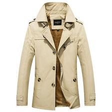 Men Warm Slim Trench Coat Single-breasted Thick Jackets Coat Overcoat Plus Size