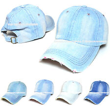 Distressed Denim Jean Vintage Polo Style 100% Cotton Adjustable Baseball Cap Hat
