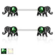 Pair of Elephant with Opal Glitter Surgical Steel Barbells Nipple Rings 14G