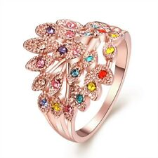 Fashion Flower Rings 18k Rose Gold Filled Women Party Jewelry New