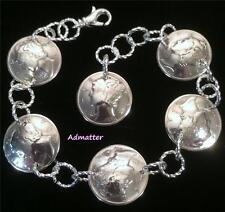 1942 STERLING SILVER MERCURY DIME CHARM BRACELET 75TH BIRTHDAY GIFT RARE COINS
