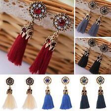 Women Boho Vintage Gold Crystal Hollow Out Tassel Drop Dangle Earrings Jewelry