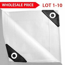 LOT 12 mil Heavy Duty Canopy Tarp WHITE 3pl Coated Tent Car Boat Cover US SE