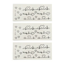 3 Pcs Removable Temporary Waterproof Tattoo Stickers Neck Leg Arm Decal for Lady
