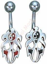 Belly Button Ring Piercing Yin Yang Flames Chinese Philosophy Surgical Barbell